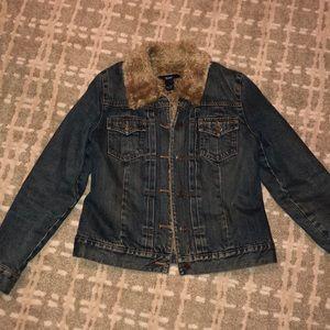 Gap fur lined jean jacket
